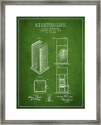 1896 Kinetoscope Patent - Green Framed Print by Aged Pixel