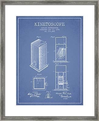 1896 Kinetoscope Patent - Light Blue Framed Print by Aged Pixel