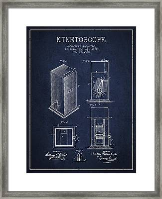 1896 Kinetoscope Patent - Navy Blue Framed Print by Aged Pixel
