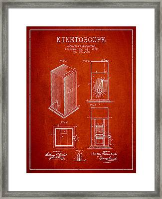 1896 Kinetoscope Patent - Red Framed Print by Aged Pixel