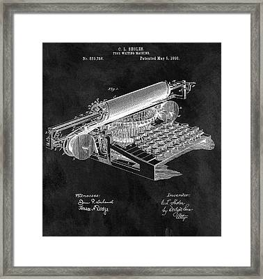 1896 Typewriter Patent Illustration Framed Print by Dan Sproul