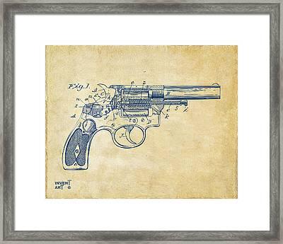 1896 Wesson Safety Device Revolver Patent Minimal - Vintage Framed Print by Nikki Marie Smith