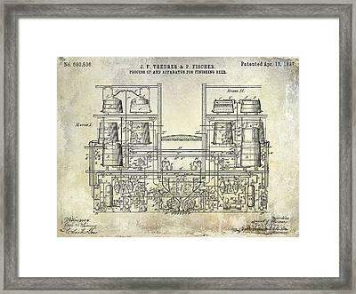 1897 Beer Brewering Patent  Framed Print