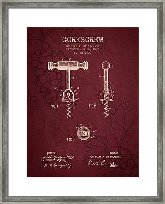 1897 Corkscrew Patent Drawing - Red Wine Framed Print by Aged Pixel