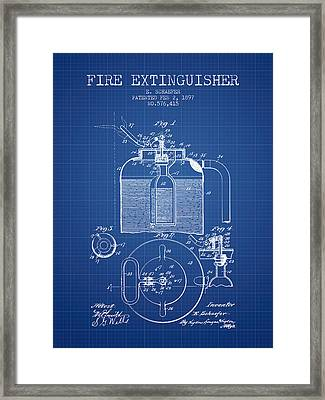 1897 Fire Extinguisher Patent - Blueprint Framed Print by Aged Pixel