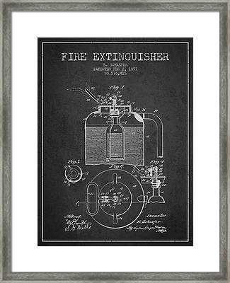 1897 Fire Extinguisher Patent - Charcoal Framed Print by Aged Pixel