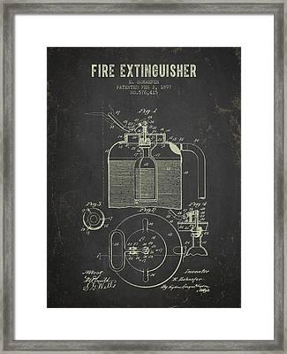 1897 Fire Extinguisher Patent - Dark Grunge Framed Print by Aged Pixel