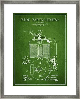 1897 Fire Extinguisher Patent - Green Framed Print by Aged Pixel