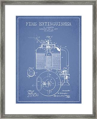 1897 Fire Extinguisher Patent - Light Blue Framed Print by Aged Pixel