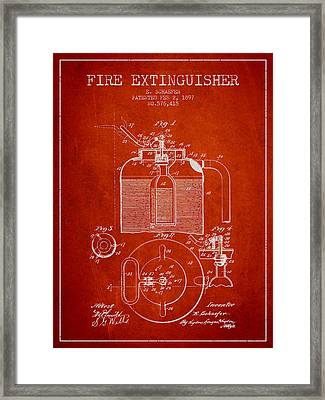1897 Fire Extinguisher Patent - Red Framed Print
