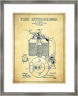 1897 Fire Extinguisher Patent - Vintage Framed Print by Aged Pixel