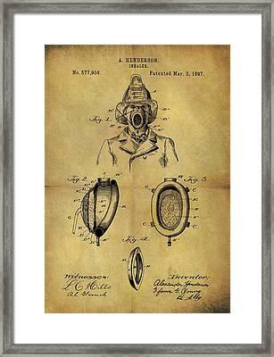 1897 Firefighter's Inhaler Patent Framed Print by Dan Sproul