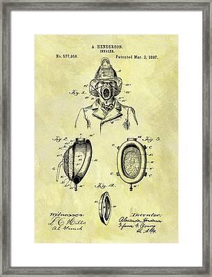 1897 Fireman's Inhaler Patent Framed Print by Dan Sproul