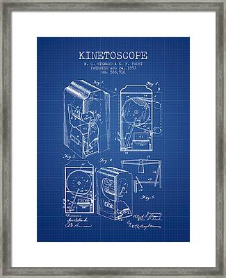 1897 Kinetoscope Patent - Blueprint Framed Print by Aged Pixel