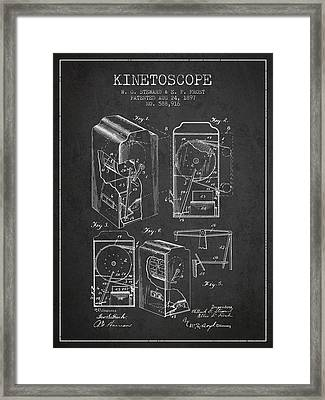 1897 Kinetoscope Patent - Charcoal Framed Print by Aged Pixel