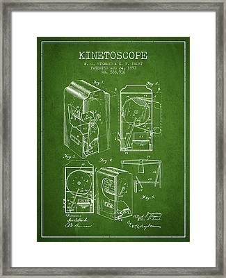 1897 Kinetoscope Patent - Green Framed Print