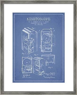 1897 Kinetoscope Patent - Light Blue Framed Print by Aged Pixel
