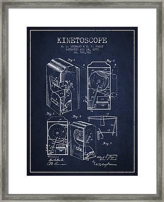 1897 Kinetoscope Patent - Navy Blue Framed Print