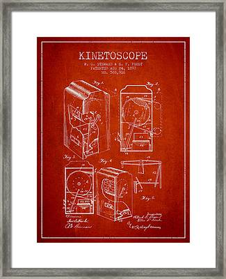 1897 Kinetoscope Patent - Red Framed Print