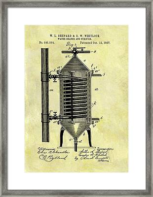 1897 Water Heater Patent Framed Print by Dan Sproul