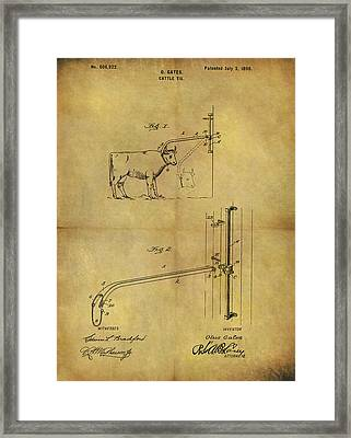 1898 Cattle Tie Patent Framed Print