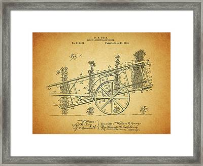 1898 Corn Harvester Patent Framed Print by Dan Sproul