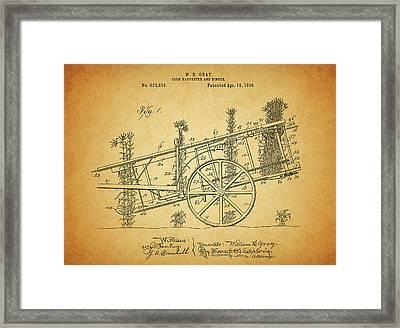 1898 Corn Harvester Patent Framed Print
