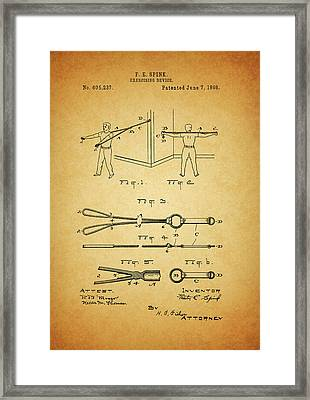 1898 Exercising Device Patent Illustration Framed Print by Dan Sproul