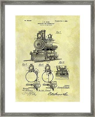 1898 Locomotive Patent Framed Print