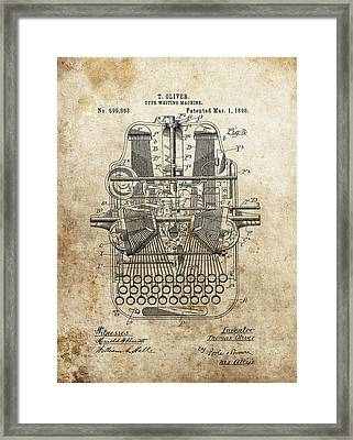 1898 Typewriter Patent Framed Print by Dan Sproul