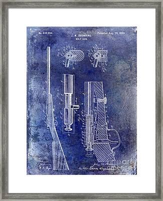 1899 Bolt Gun Patent Blue Framed Print