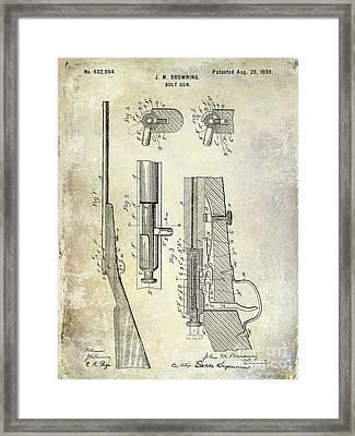 1899 Bolt Gun Patent Framed Print