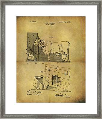 1899 Cattle Stall Patent Framed Print