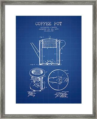 1899 Coffee Pot Patent - Blueprint Framed Print by Aged Pixel
