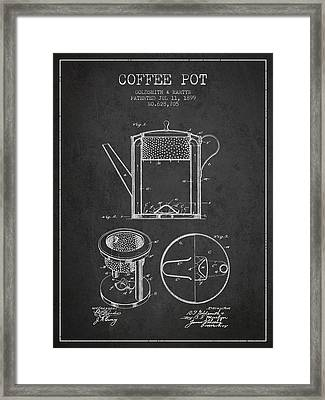 1899 Coffee Pot Patent - Charcoal Framed Print by Aged Pixel