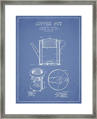 1899 Coffee Pot Patent -  Light Blue Framed Print by Aged Pixel
