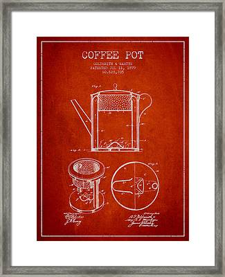 1899 Coffee Pot Patent - Red Framed Print by Aged Pixel