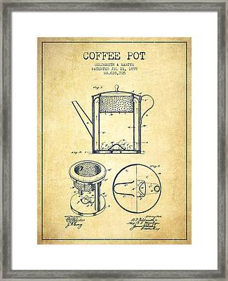 1899 Coffee Pot Patent - Vintage Framed Print