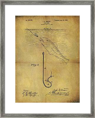 1899 Fish Hook Patent Framed Print by Dan Sproul
