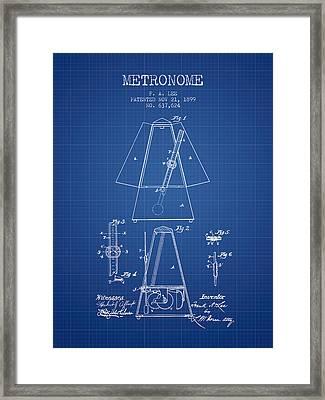 1899 Metronome Patent - Blueprint Framed Print