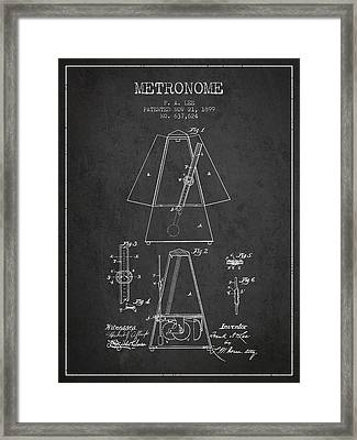 1899 Metronome Patent - Charcoal Framed Print