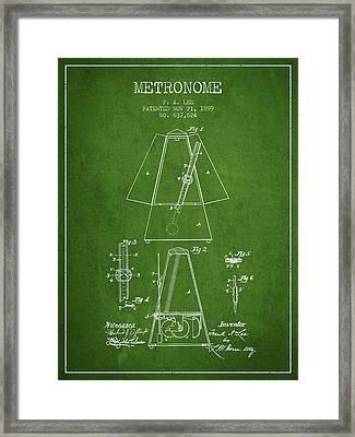 1899 Metronome Patent - Green Framed Print
