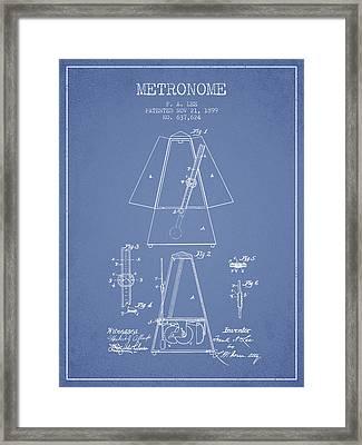 1899 Metronome Patent - Light Blue Framed Print
