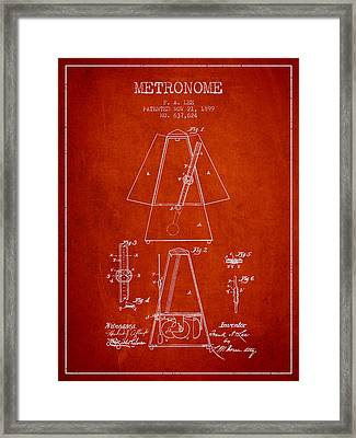 1899 Metronome Patent - Red Framed Print