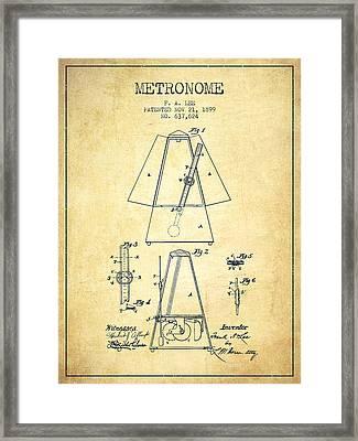 1899 Metronome Patent - Vintage Framed Print