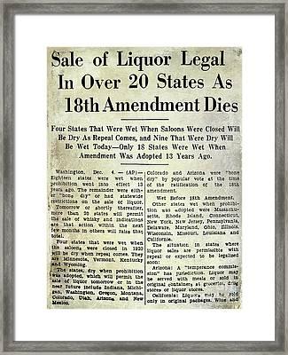 18th Amendment Article Framed Print by Jon Neidert