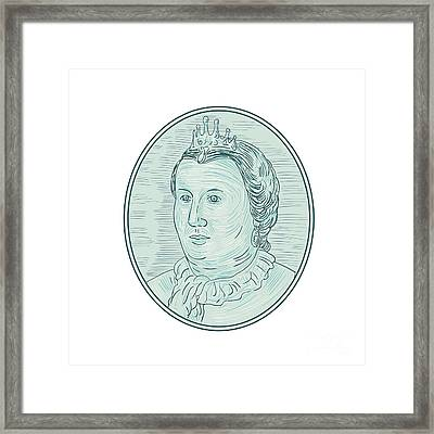 18th Century European Empress Bust Oval Drawing Framed Print