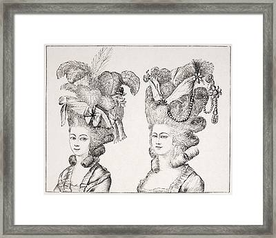18th Century French Girls Wearing Framed Print by Vintage Design Pics