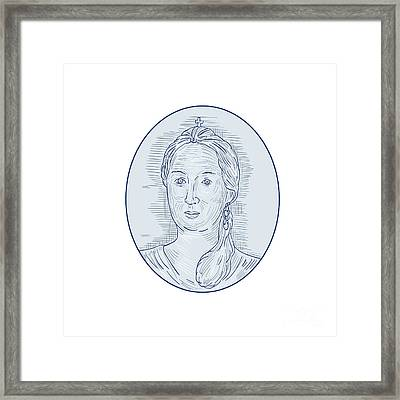 18th Century Russian Empress Bust Oval Drawing Framed Print