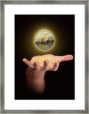 Hand With Cryptocurrency Hologram Framed Print
